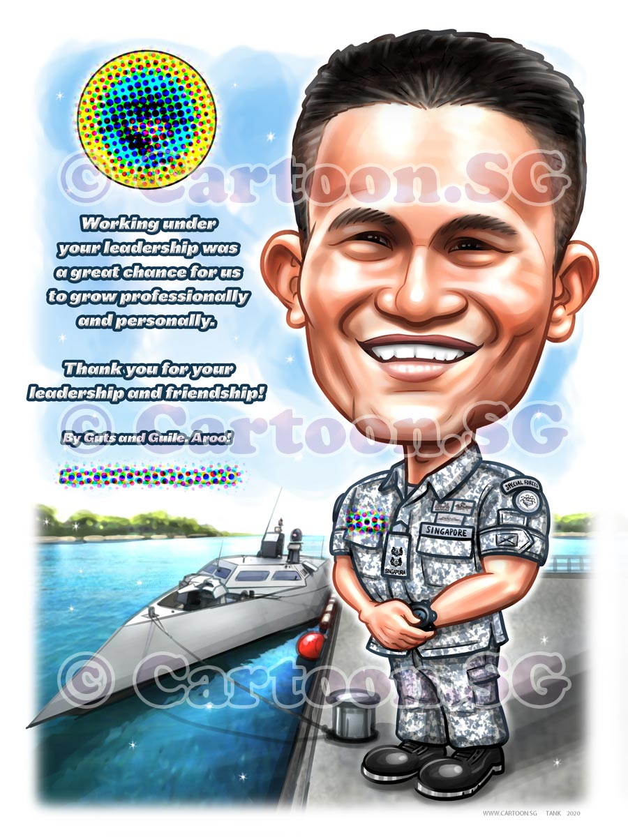SAF navy uniform appreciation cartoon.sg caricature sketch