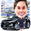 police women car farewell appreciation contribution cartoon caricature