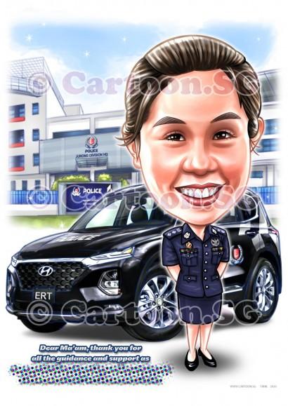 police women car farewell appreciation contribution cartoon caricature