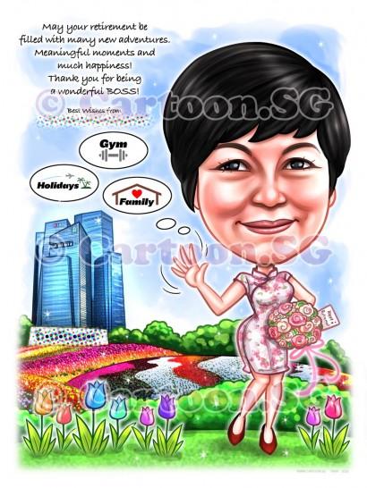 gift boss caricature cheongsam garden flower