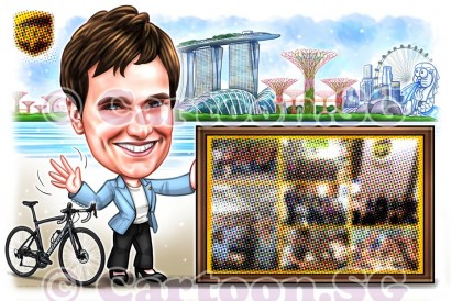singapore landscapes bicycle cartoon sketch