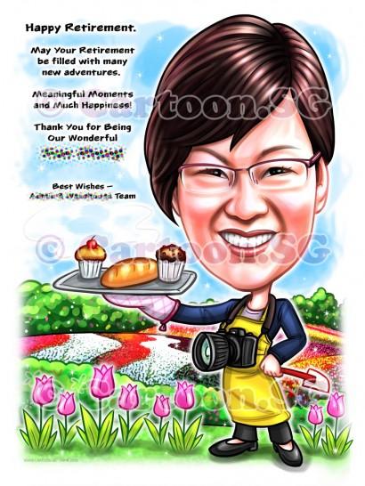 flower field camera garden cartoon caricature