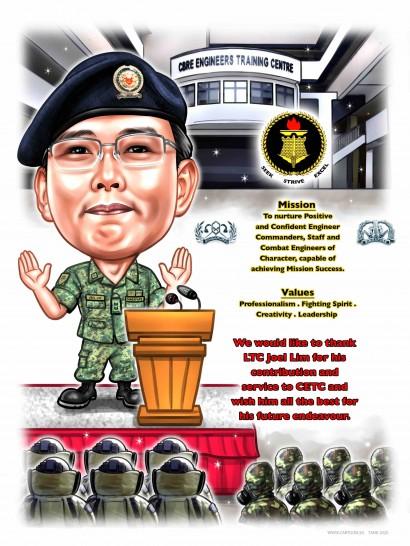 saf army uniform bomb suit mask caricature sketch stage speech