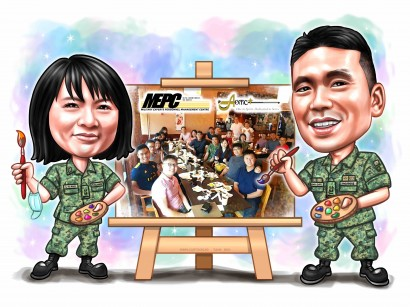 group photos army uniform canvas painting lunch dinner caricature sketch