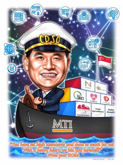 captain ship sail cartoon funny faces singapore flag