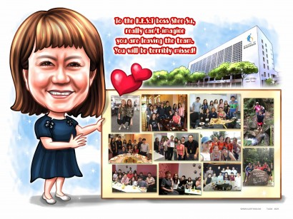 lady boss colleagues farewell pictures caricature sketch