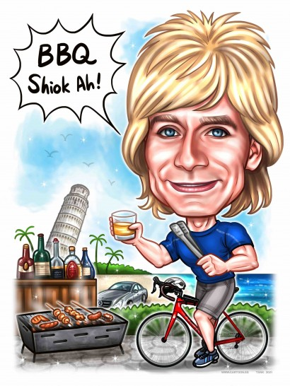 blonde bicycle bbq beach tower of pisa farewell caricature sketch