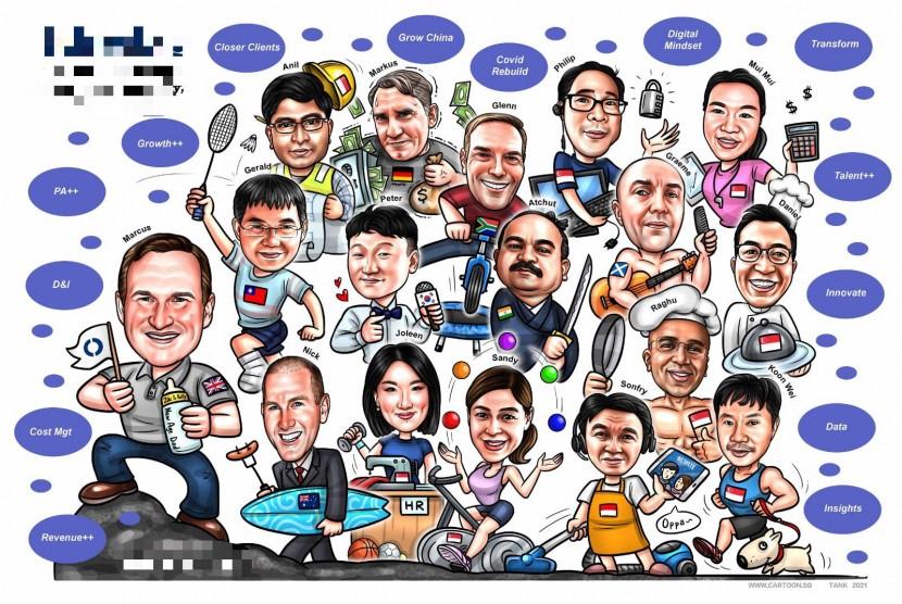 company family cartoon caricature